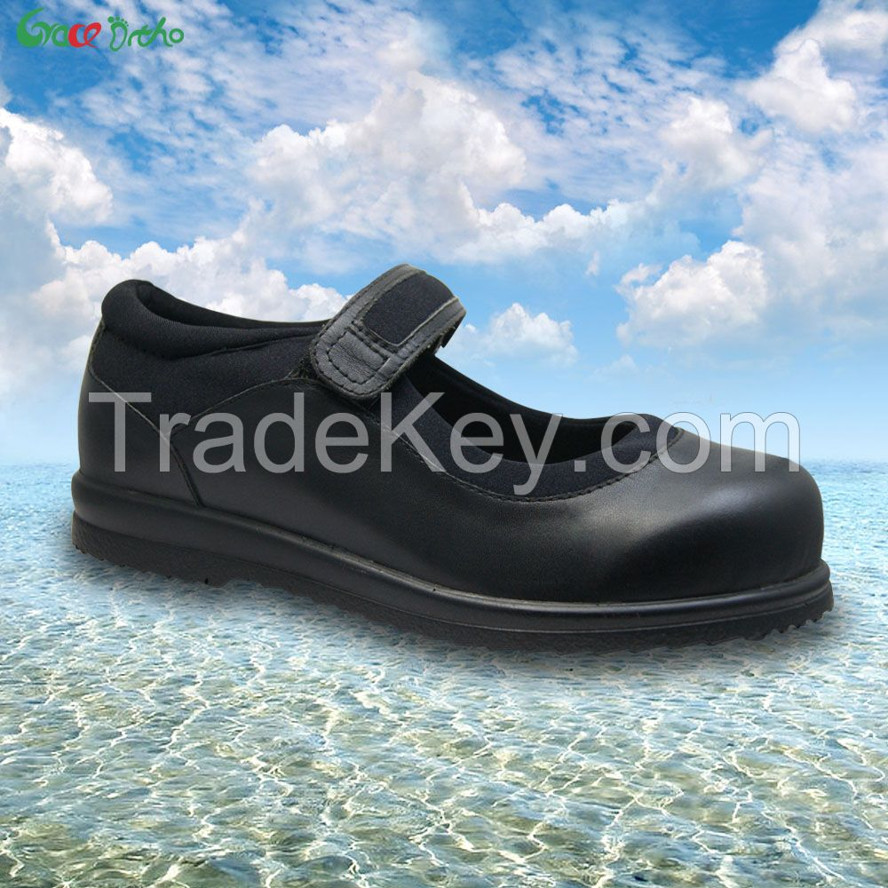 China factory Leather seamless lining  comfort Shoes with extra depth and removable insole