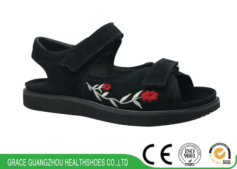 9817604 wide leather diabetic comfortable sandal health shoes