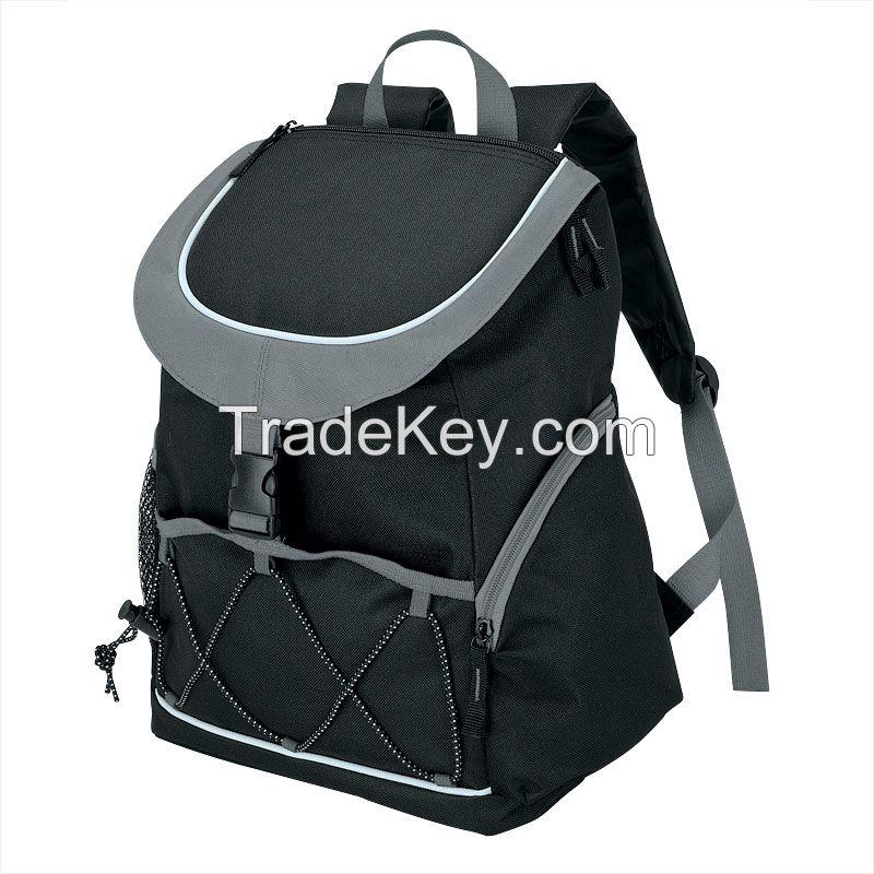 PEVA Lined Backpack Cooler Bag, with Front Pocket, with 2 Side Mesh Pockets