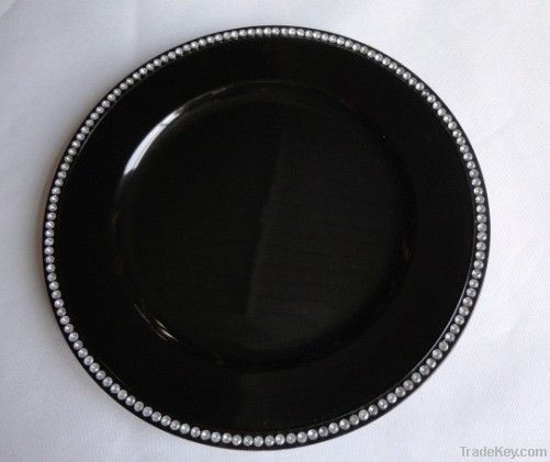 Plastic wedding plate/Beaded charger plates