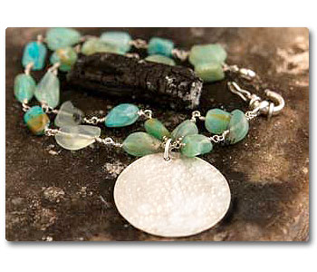 andean opal bracelete baroque with silver disk