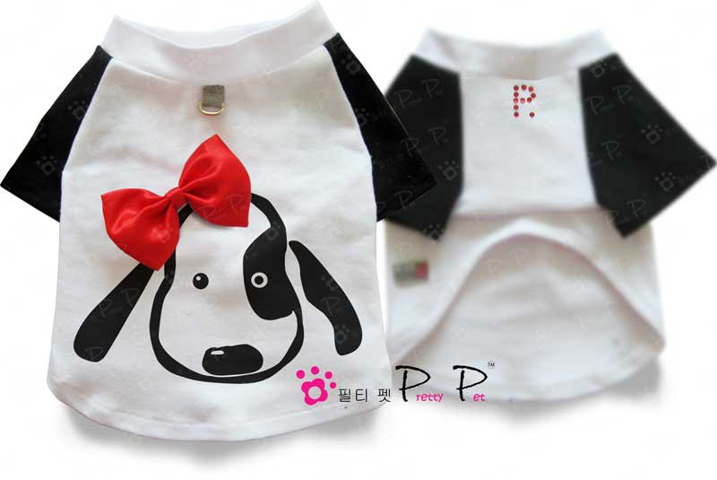 Pretty Pet Black and White Cute Doggie T-shirt