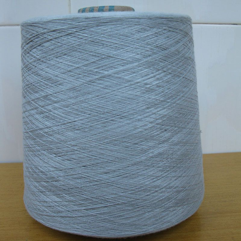 Ne32/2ply 20% stainless steel staple fiber  blended with 80% polyester staple fiber metal conductive yarn/thread/fabric-XTAA001
