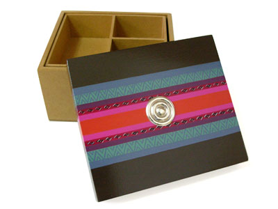 Hand painted Peruvian Small jewelry box sterling silver application