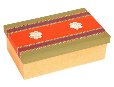 Hand painted Peruvian Large jewelry box sterling silver application