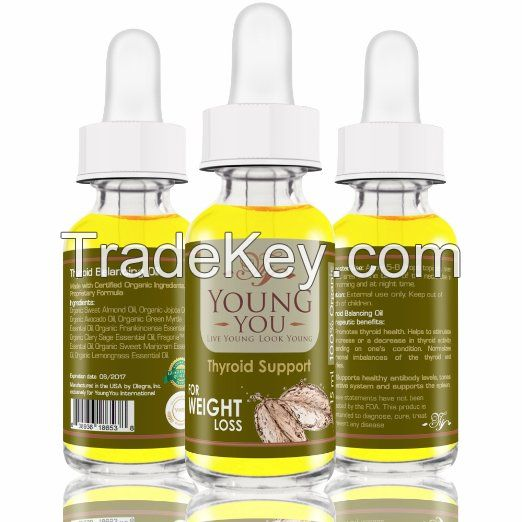 Thyroid Support organic essential oil blend for weight loss thyroid and ovaries balance supreme serum 15 ml.