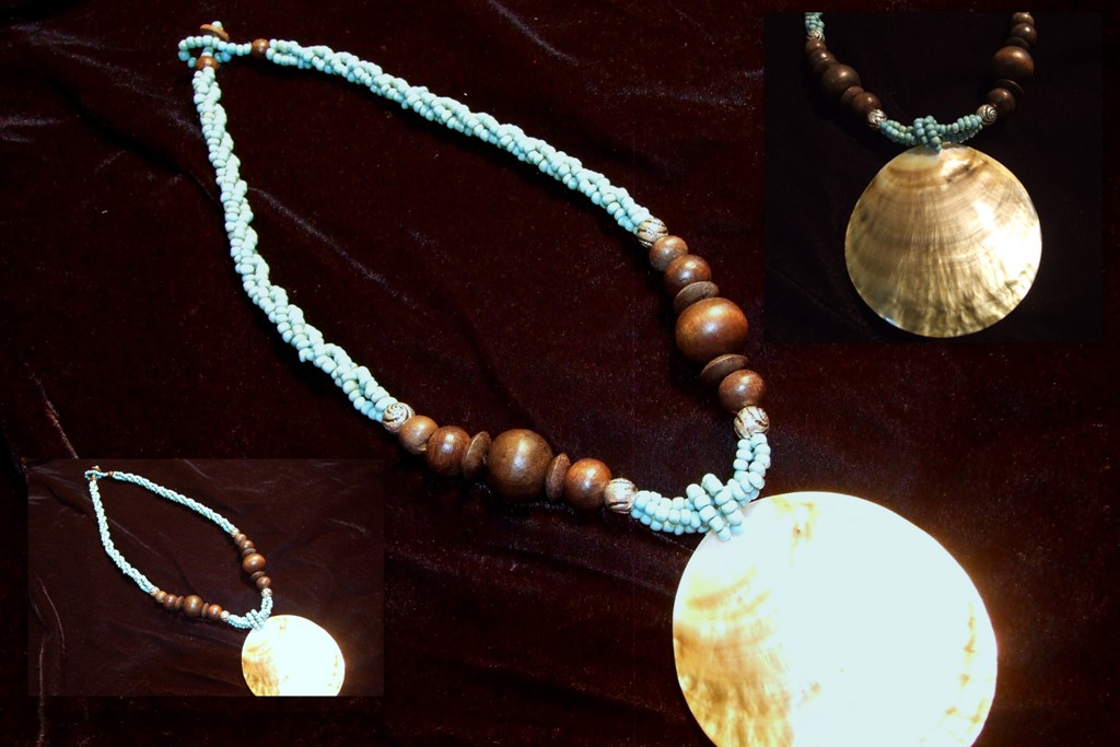 Blue bead necklace with large shell pendant