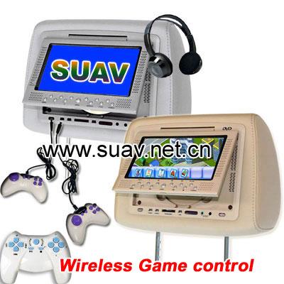 Headrest car DVD player with game, IR, FM, USB, SD/MMC/MS slot