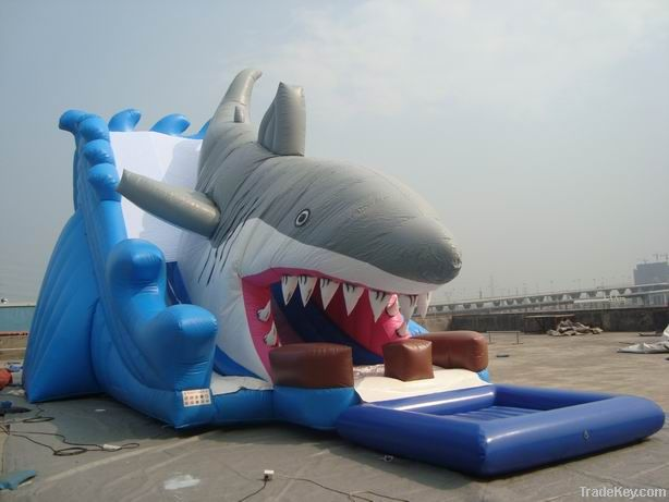 Inflatable Shark Slide With Pool