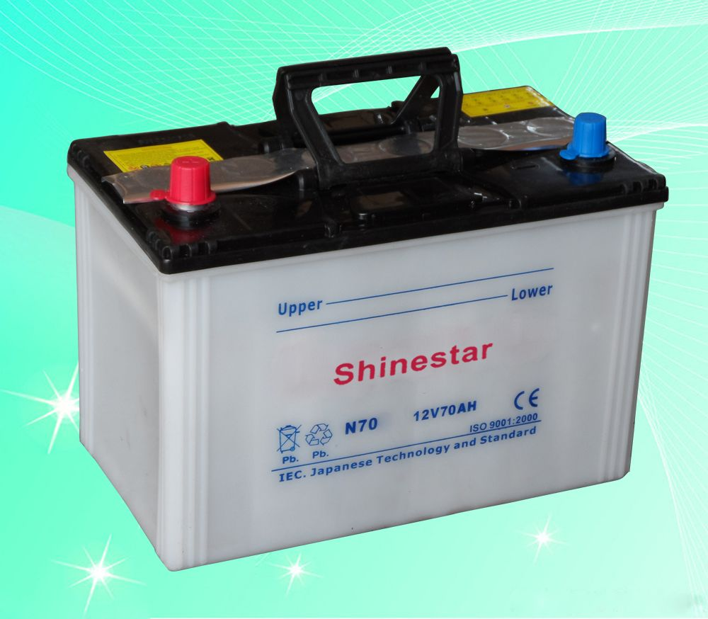N70 12V70AH Dry charge car battery