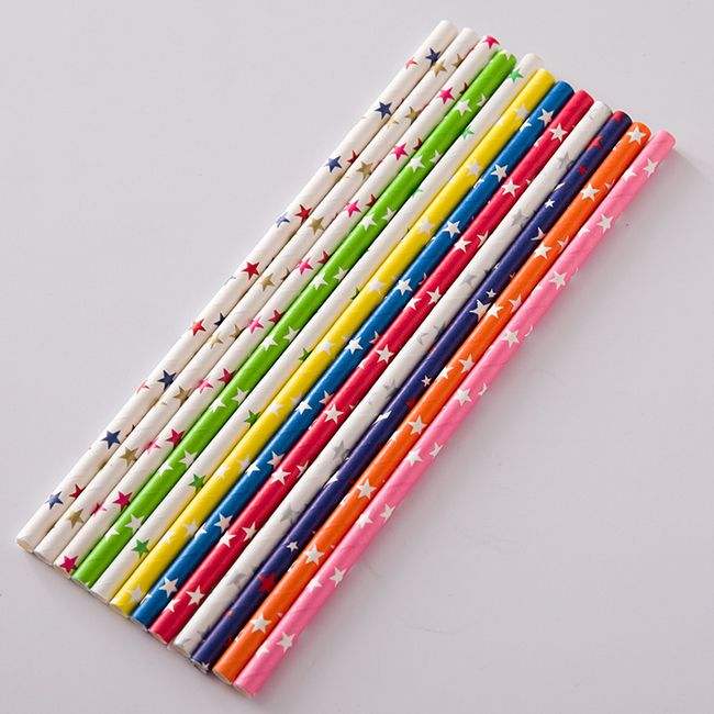 colorful printed paper drinking straw