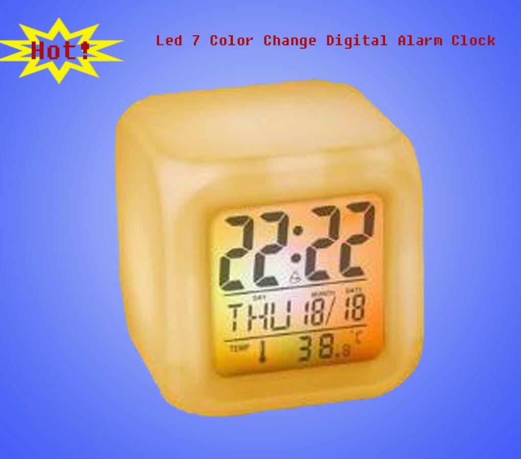 Desktop LED Digital Alarm Clock with 7 Glowing Color Change