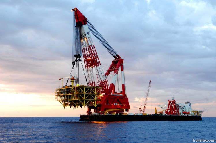 revolving floating crane barge rotating floating crane barge rotation