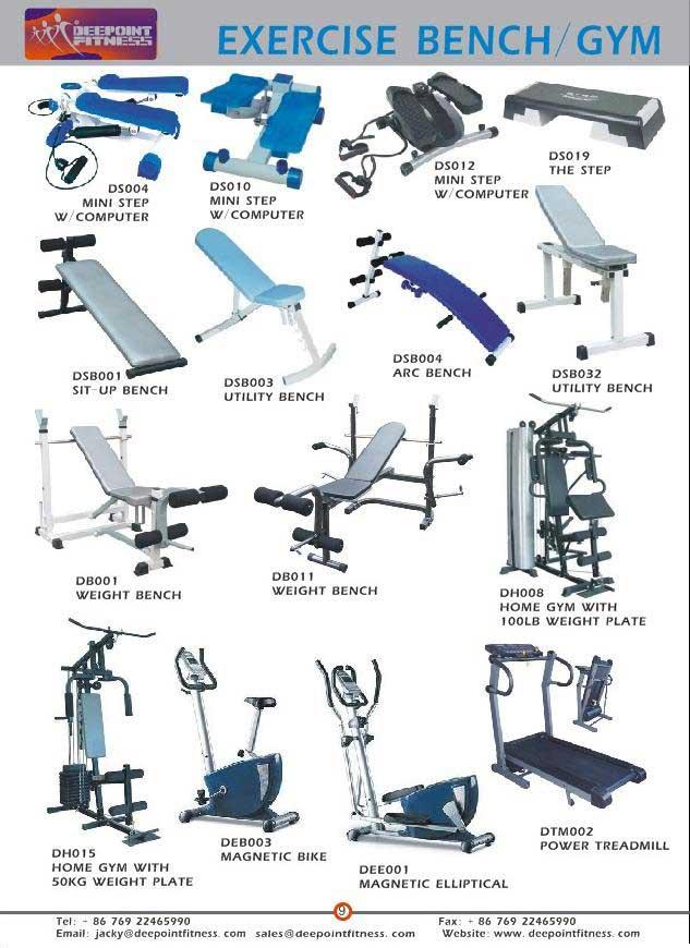 Yoga mat, Gym Ball, Handgrip, Jump Rope, Stepper, Trampoline, Bench