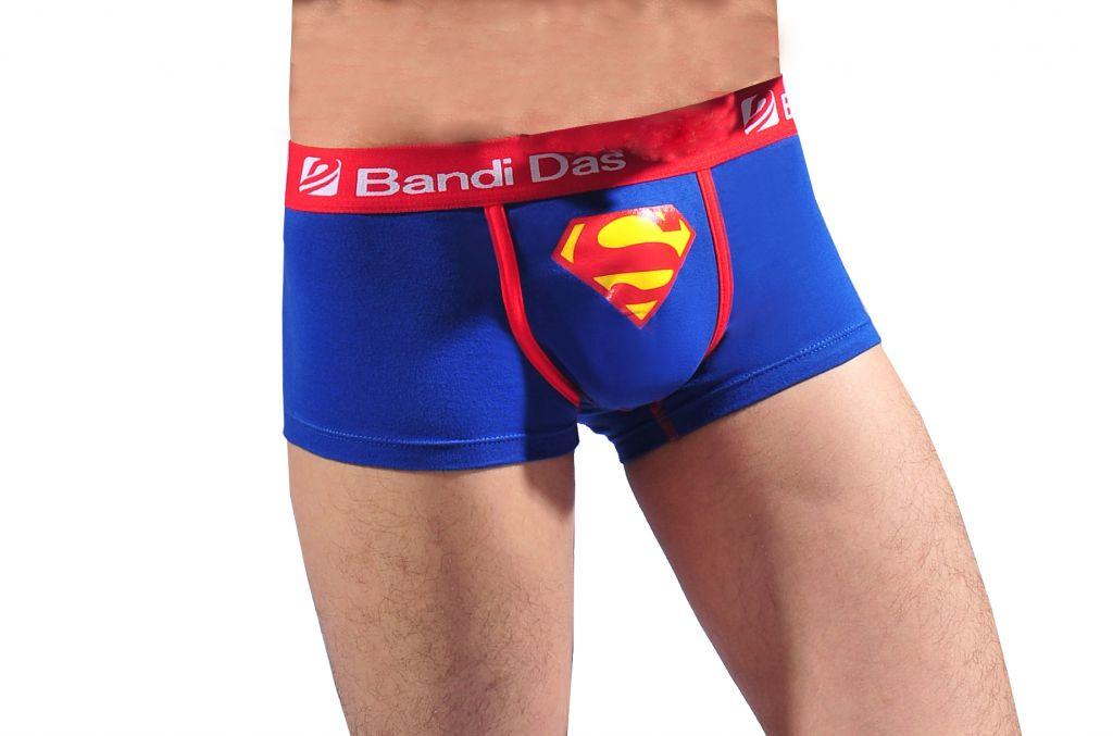 Korean version of pure color Lycra cotton men's boxer underwear With Superman pattern printing