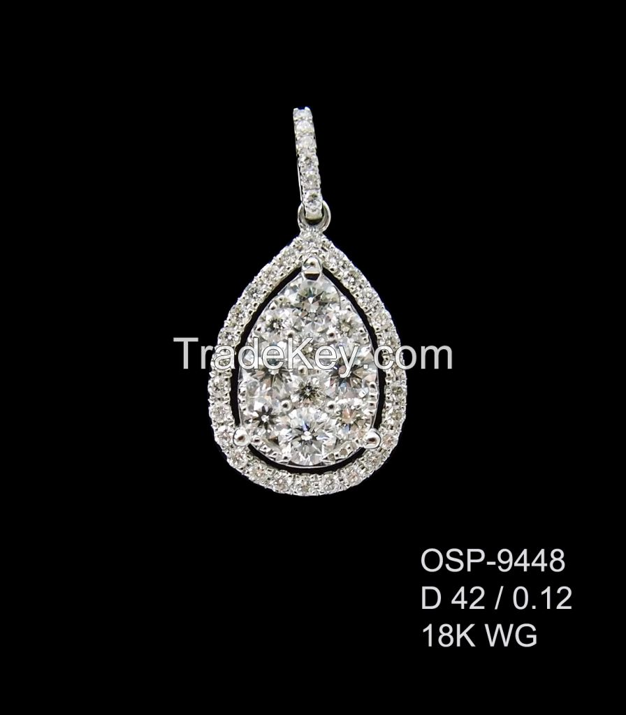 Round cutting Diamond Pendant
