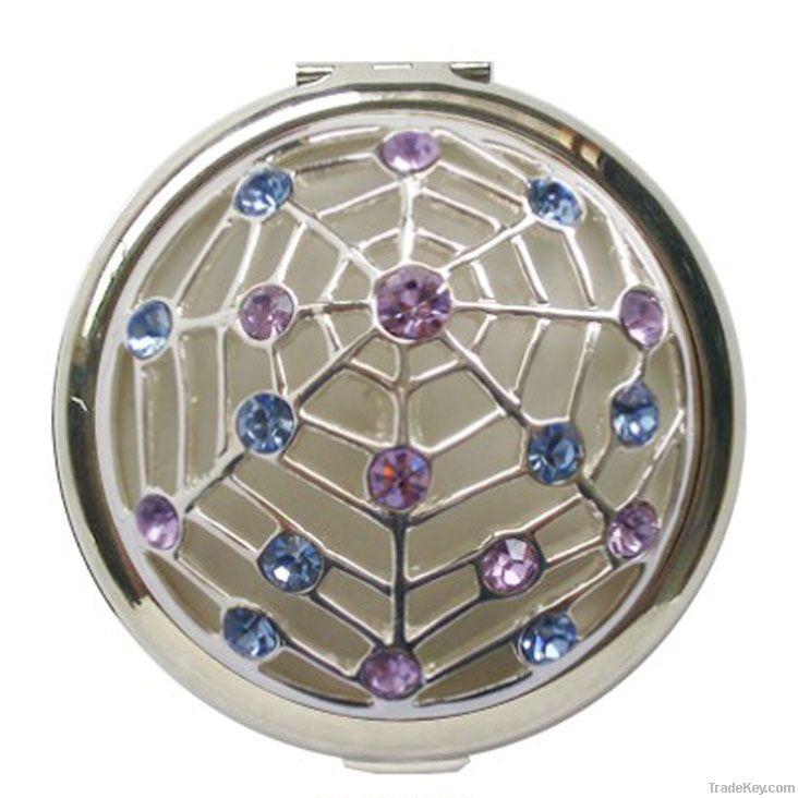 Antique Metal Cosmetic Mirror Case