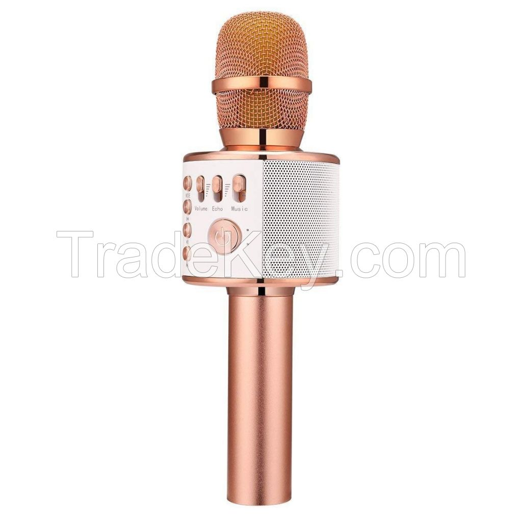 Q37 Wireless Bluetooth Karaoke Microphone, 3-in-1 Portable Handheld karaoke Mic New Year Gift Home Party Birthday Speaker Machine for iPhone/Android/iPad/Sony, PC and All Smartphone(Rose Gold)