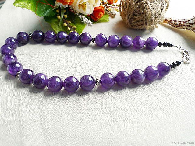 natural gemstone amethyst big beads necklace