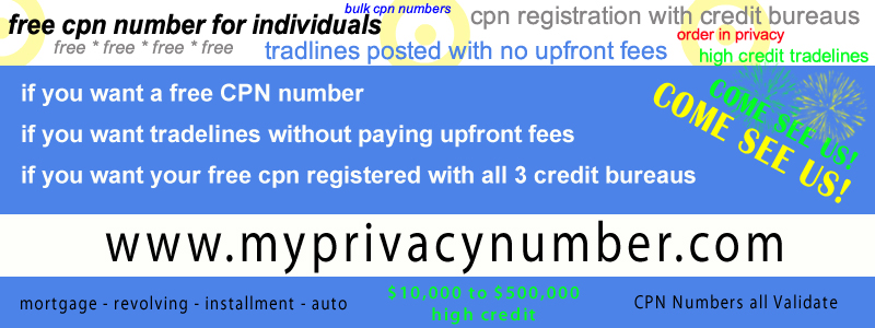 USA CREDIT FILE - CPN CREDIT NUMBER - PRIMARY TRADELINES By My