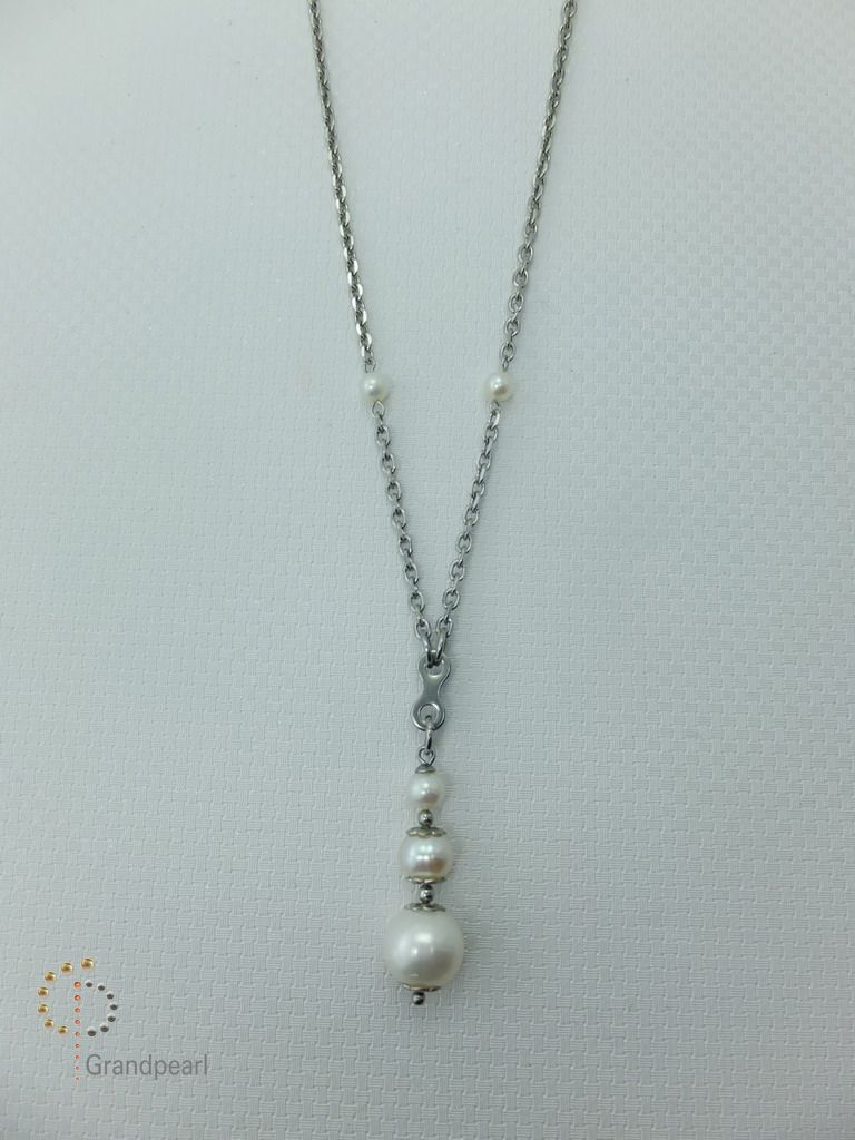 PNA-066 Pearl Necklace with Sterling Silver Chain