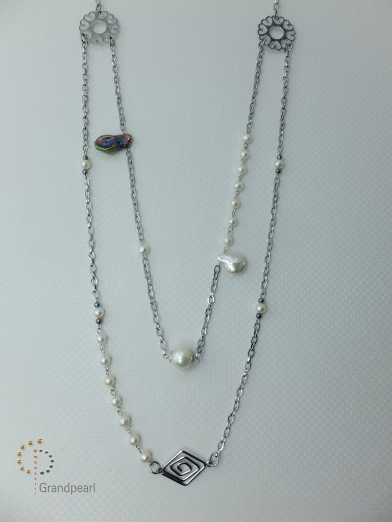 PNA-065 Pearl Necklace with Sterling Silver Chain