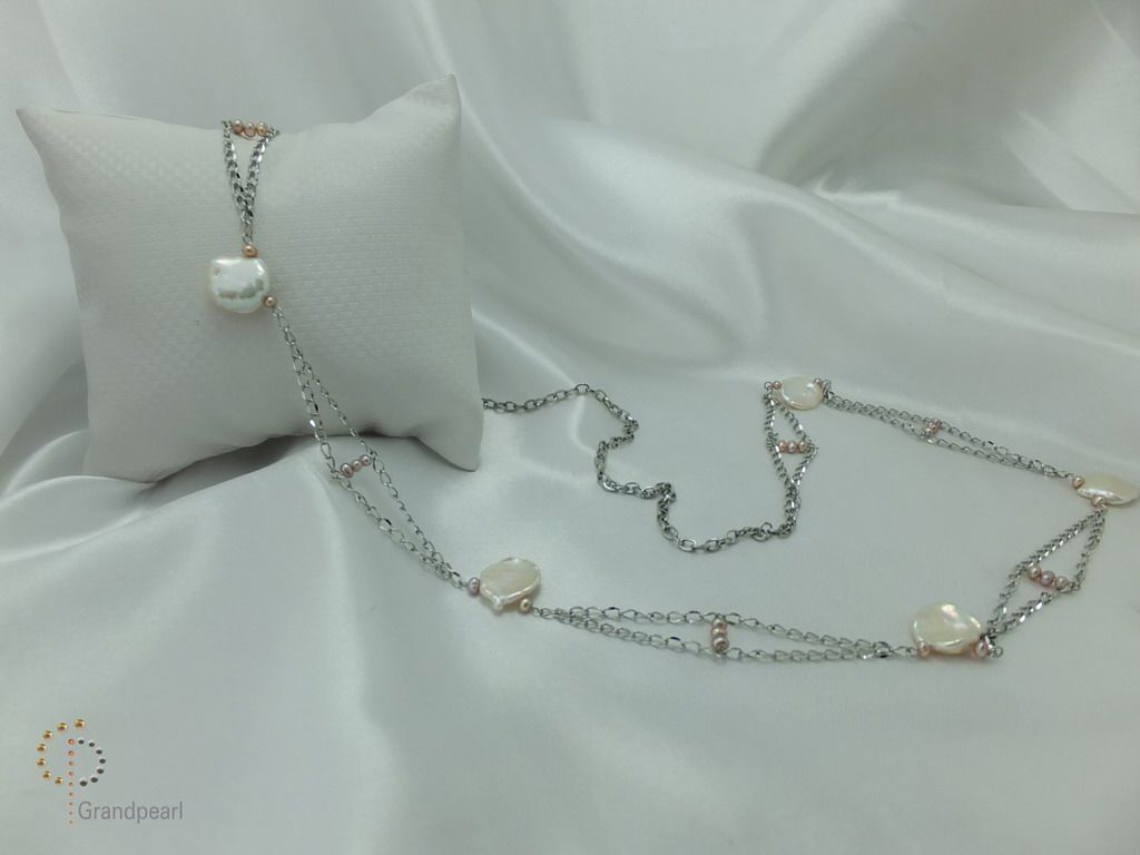 PNA-079 Pearl Necklace with Sterling Silver Chain