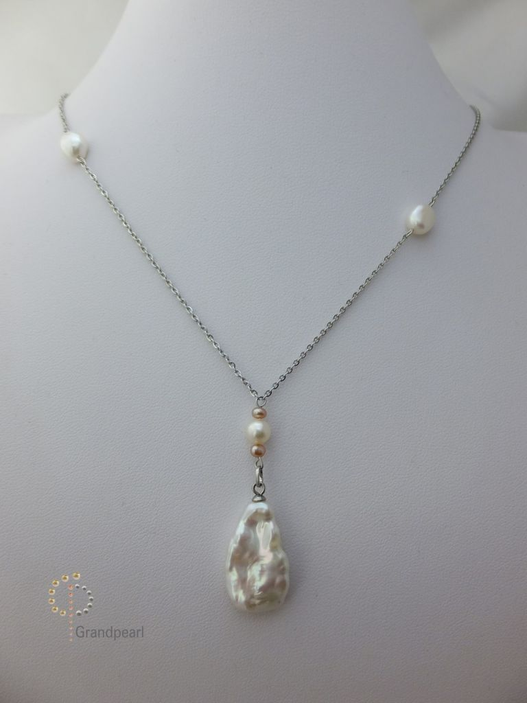 14_Pearl Chain 18inch Necklace PNB002-b
