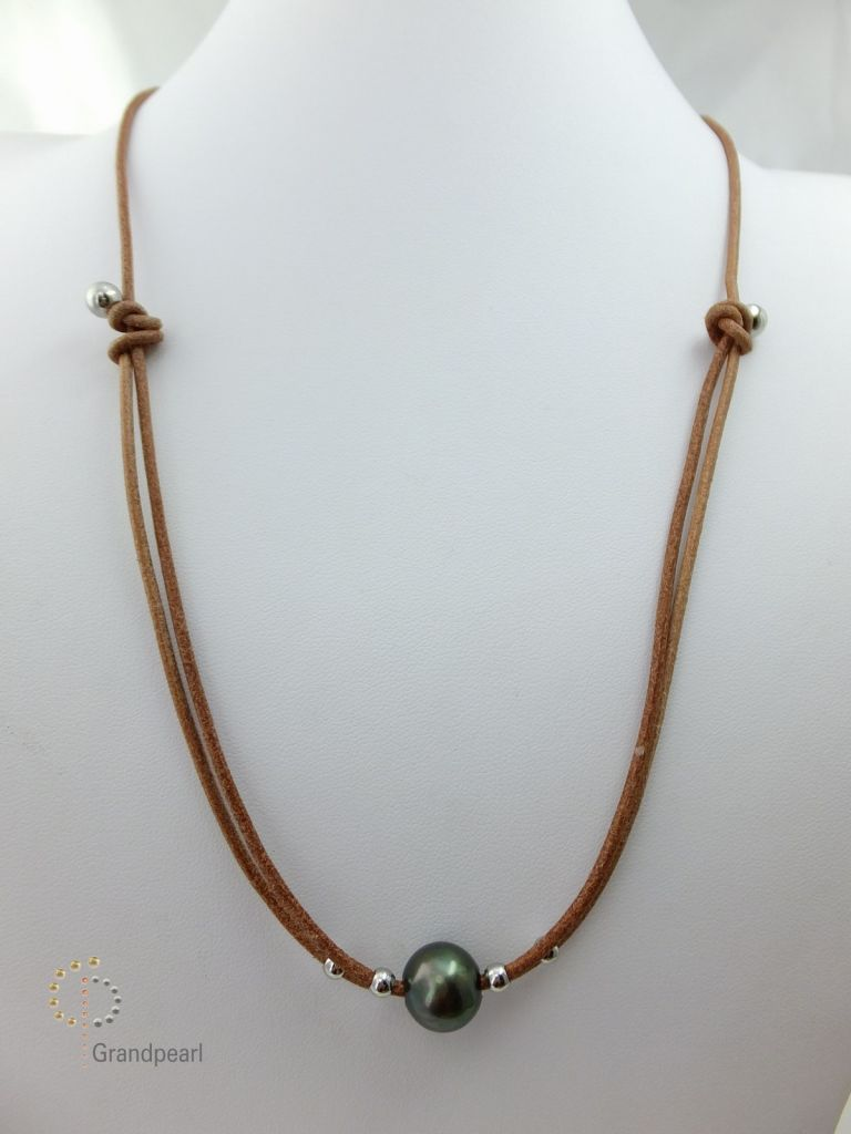 76_Pearl Leather Necklace PLN048