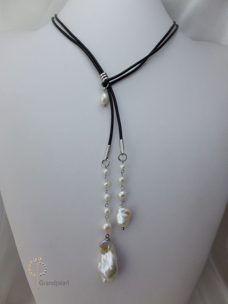 103_Pearl Leather Necklace PLN022
