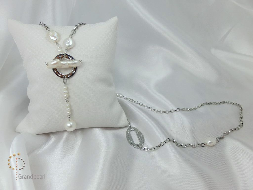 123_Pearl Chain Long Necklace PNA035