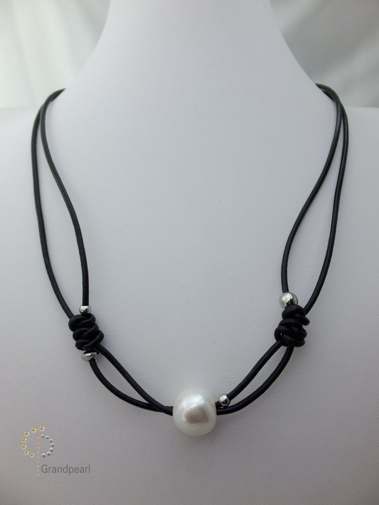 134_Pearl Leather Necklace PLN028