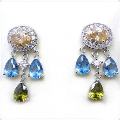 Gemstone / precious stone jewelry: Color zircon earring