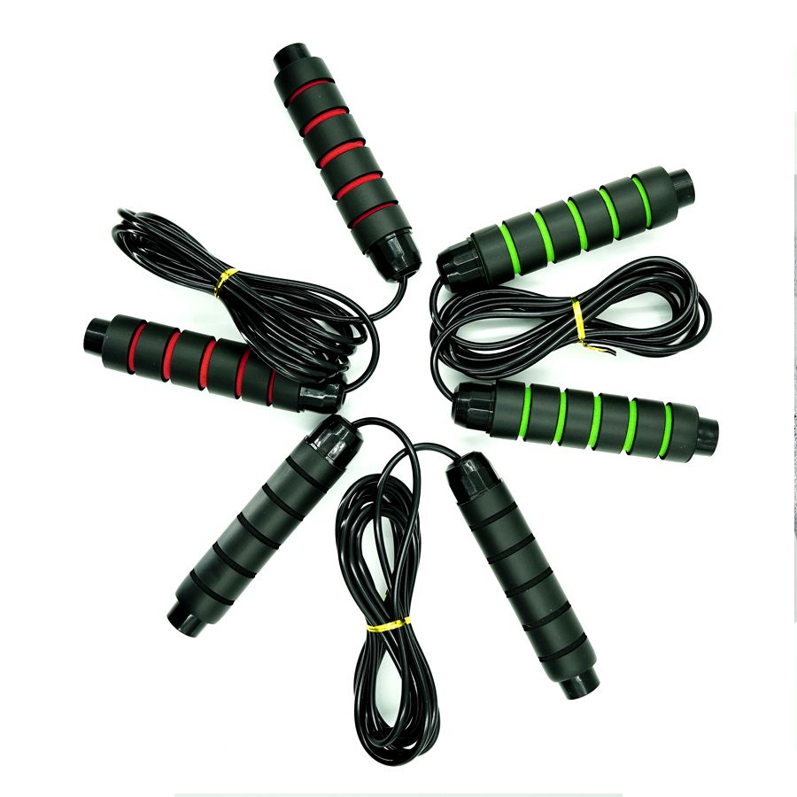 black adjustable soft foam long handles workout professional jump rope
