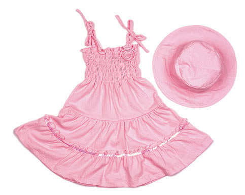 Infant Girls Crinkle Smock Dress With Matching Hat 2pce