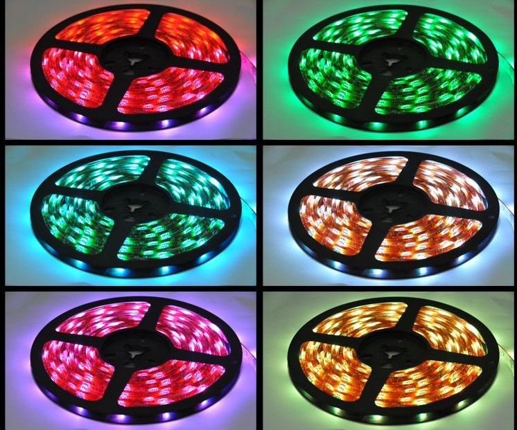 New!!! RGB Led Strip Waterproof 5M SMD 5050 300 LEDs/Roll +24 keys IR Remote+12V 6A Power Adapter