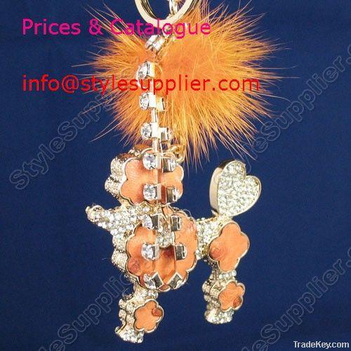 Wholesale Crystal Bag Charms, Crystal Key Ring, Leather Bag Charms,