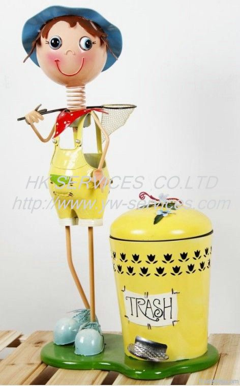 Lovely Step Iron Dustbin Metal dolls craft 2012