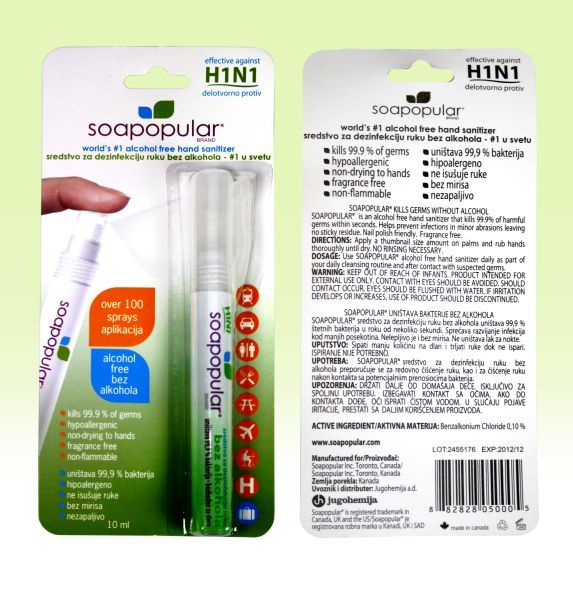 Hand Sanitizer 10ml - Non - Alcoholic