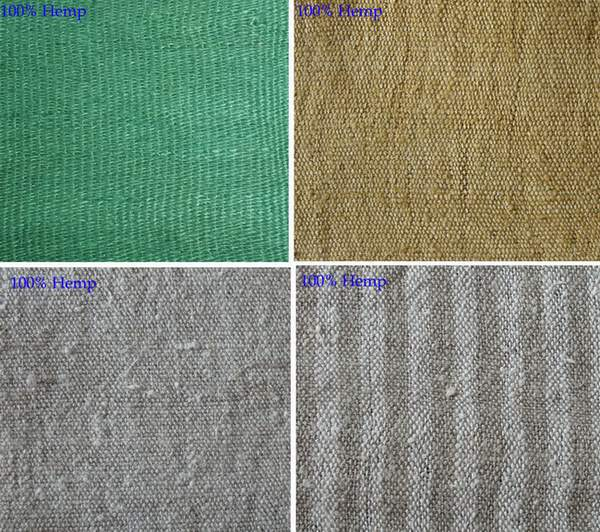100% Hemp fabrics, 65% Hemp, 35% Cotton Fabrics, 55%  Hemp  45% cotton
