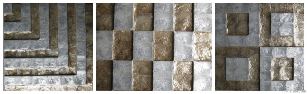 Gold and silver capiz shell wall tile