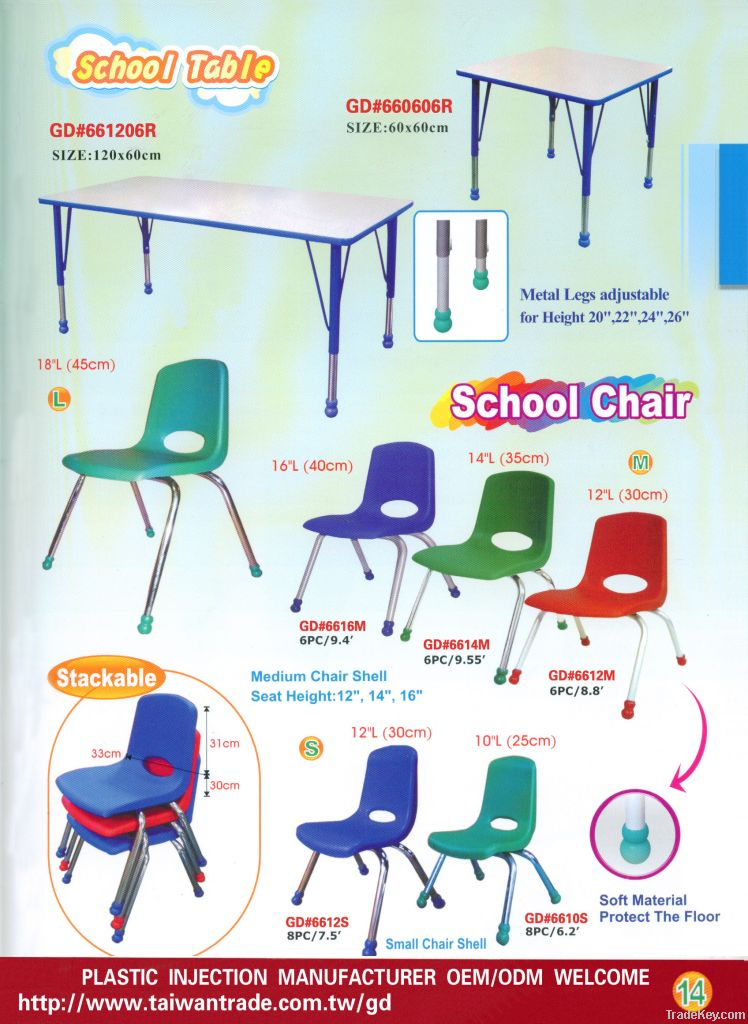 School Table Chair and Stackable