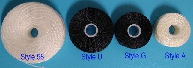 Prewound Bobbins, sidelss, 210D/3, Nylon bonded thread, White (Black), Style A, Style G, Style U, Styele 33, Style 58