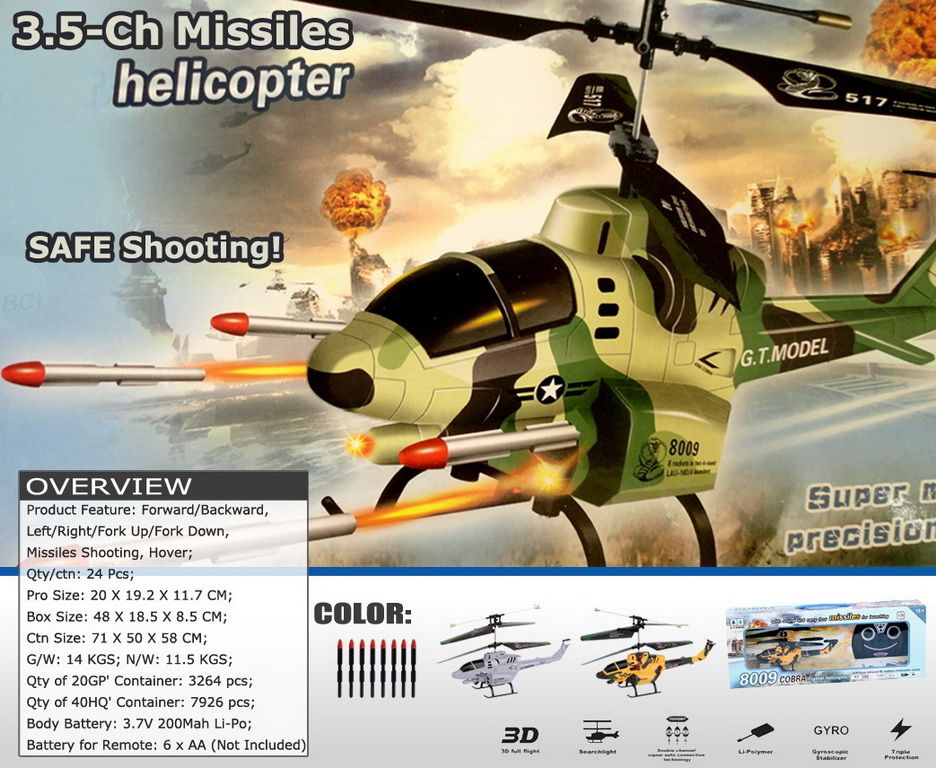 3.5-Ch Gyro Radio Controlled Rc Missiles Helicopter