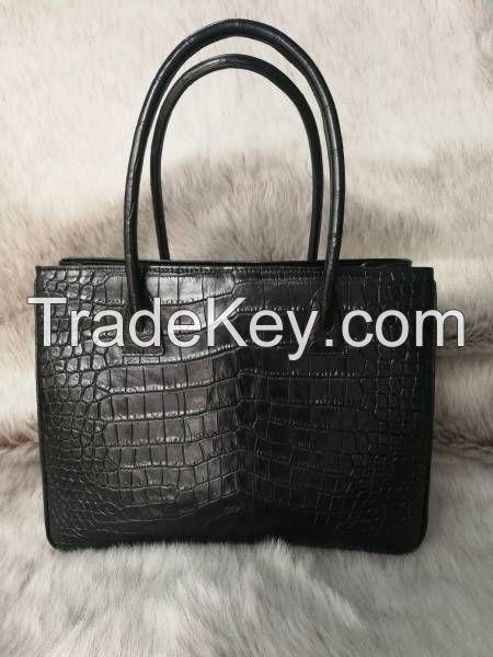 Genuine Belly Crocodile Leather Tote Bag Handbag. Black Crocodile Skin Shoulder Bag. Made in Thailand