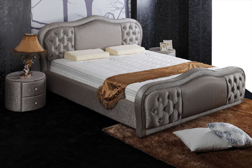leather bed+mattress+nightstand