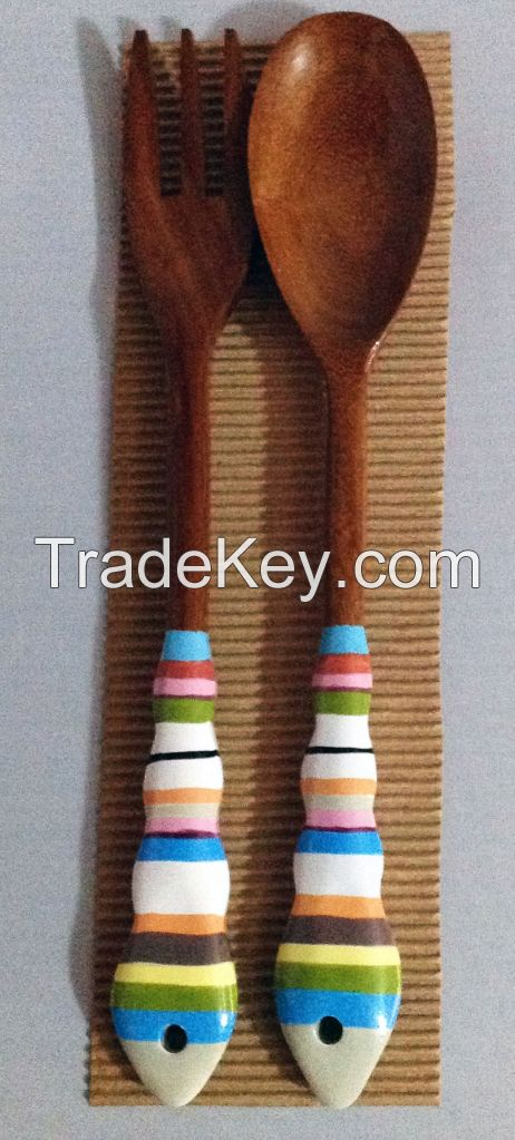 Hand painted Wooden Serving Utensils