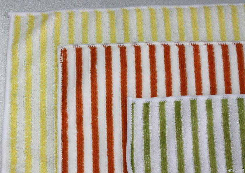 microfiber color stripe cleaning towel