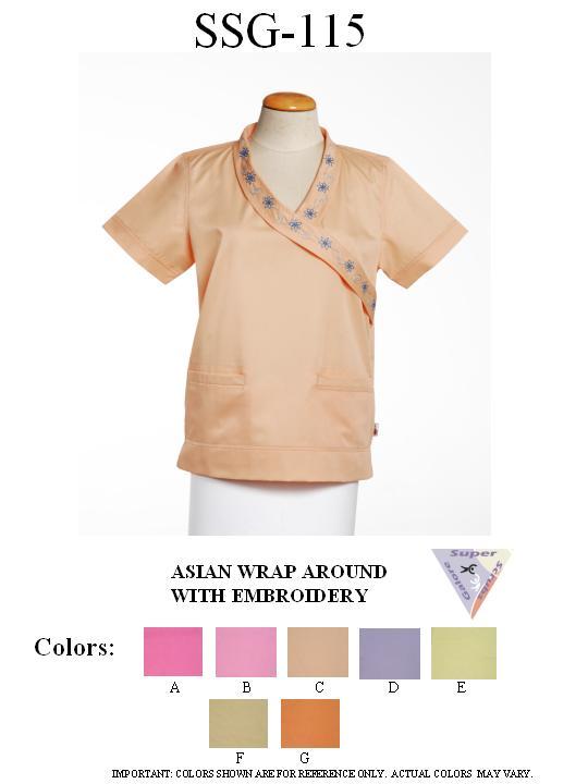 Asian Wrap Around Scrubs with Embroidery