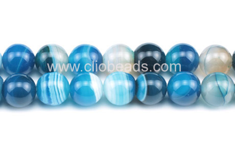 Dyed Blue Striped Agate Rounds
